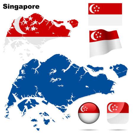 Conjunto de Singapur. Forma de pa�s detallado con las fronteras de la regi�n, banderas y iconos aislados sobre fondo blanco.