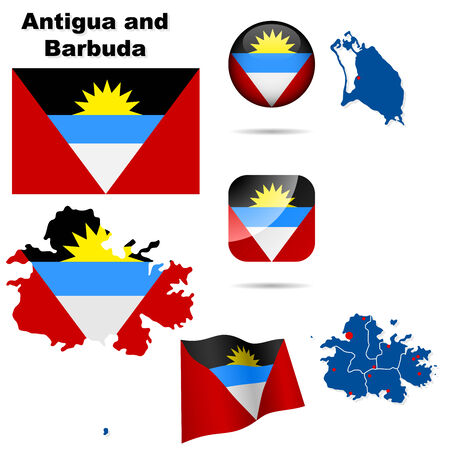 dependencies: Antigua and Barbuda set. Detailed country shape with region borders, flags and icons isolated on white background.