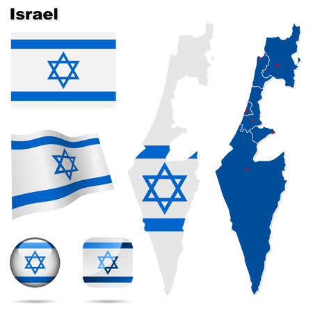 Israel set. Detailed country shape with region borders, flags and icons isolated on white background.
