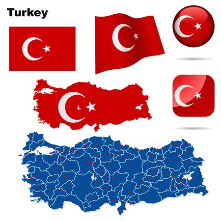 turkey istanbul: Set di Turchia. Forma di paese dettagliato con i confini della regione, bandiere e icone isolate su sfondo bianco.
