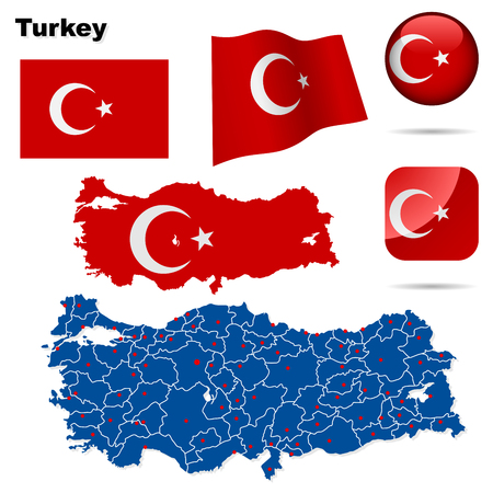 Jeu de Turquie. Forme de pays détaillées des frontières de la région, des drapeaux et des icônes isolées sur fond blanc.