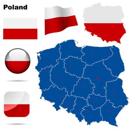 warsaw: Poland  set. Detailed country shape with region borders, flags and icons isolated on white background.
