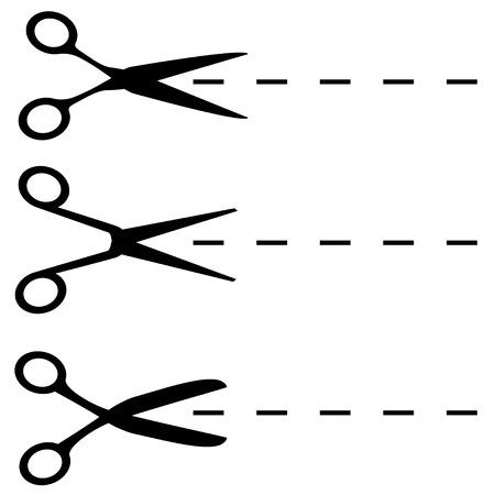 Scissors black shapes isolated on white.