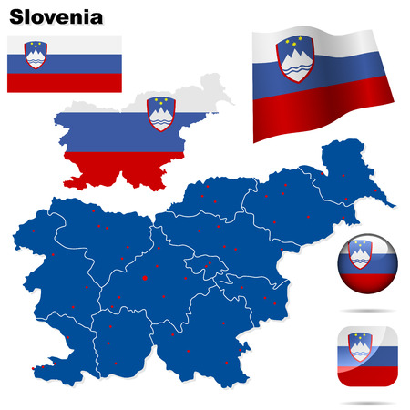 Slovenia  set. Detailed country shape with region borders, flags and icons isolated on white background. Stock Vector - 7180027