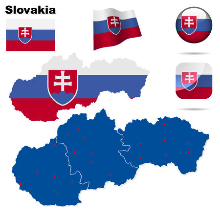 Conjunto de Eslovaquia. Forma de país detallado con las fronteras de la región, banderas y iconos aislados sobre fondo blanco.