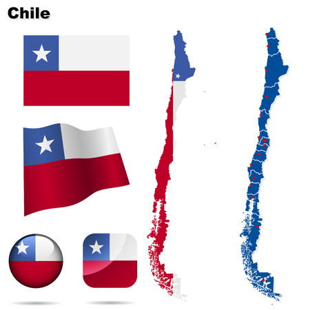 boundary: Chile set. Detailed country shape with region borders, flags and icons isolated on white background.