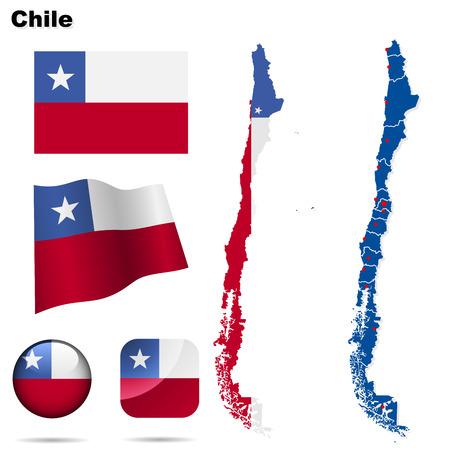 chilean flag: Conjunto de Chile. Forma de pa�s detallado con las fronteras de la regi�n, banderas y iconos aislados sobre fondo blanco.