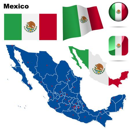 bandera mexicana: Conjunto de M�xico. Forma de pa�s detallado con las fronteras de la regi�n, banderas y iconos aislados sobre fondo blanco.