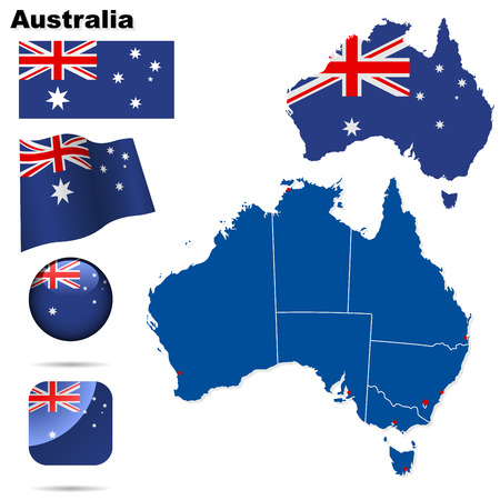 Австралия: Australia  set. Detailed country shape with region borders, flags and icons isolated on white background.