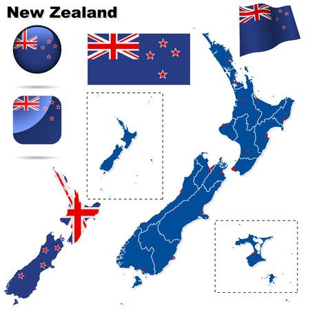 new zealand flag: Nuova Zelanda insieme. Forma di paese dettagliato con i confini della regione, bandiere e icone isolate su sfondo bianco.  Vettoriali