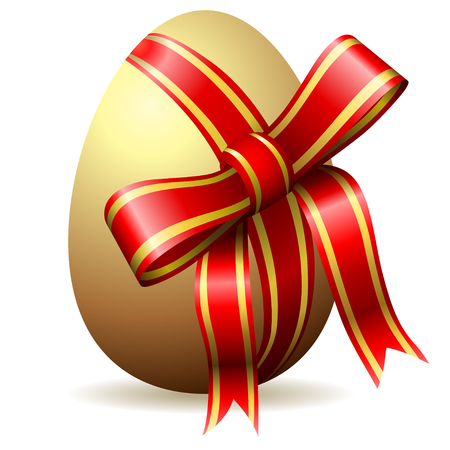 golden egg: Easter egg begirded with decorative red ribbon isolated on white.