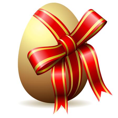 uova d oro: Uovo di Pasqua begirded con nastro rosso decorativo isolato su bianco.
