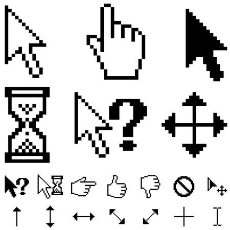 kursor: Kursory piksela standardowej ustawić odizolowane na biały.  Ilustracja
