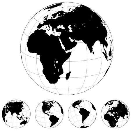 continents: Black and white  Earth globes isolated on white.