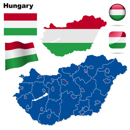 eastern europe: Hungary set. Detailed country shape with region borders, flags and icons isolated on white background. Illustration