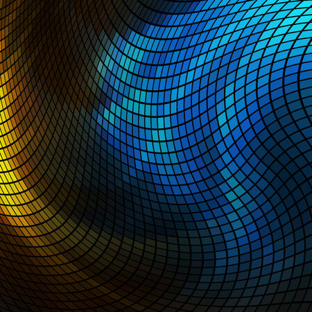 Abstract  blue and yellow lights 3D mosaic horizontal  background.