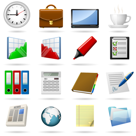 slump: Business and office icons set. EPS10 file.