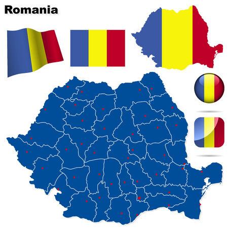 Roemenië is ingesteld. Gedetailleerde land vorm met de regio grenzen, vlaggen en pictogrammen geïsoleerd op een witte achtergrond.