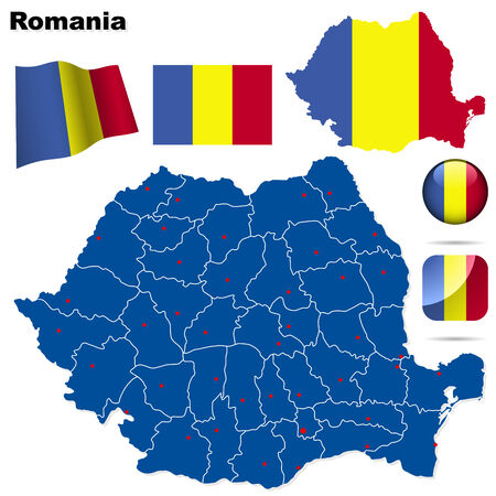 romania: Romania set. Detailed country shape with region borders, flags and icons isolated on white background. Illustration