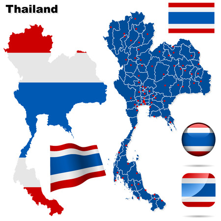 Thailand set. Detailed country shape with region borders, flags and icons isolated on white background.