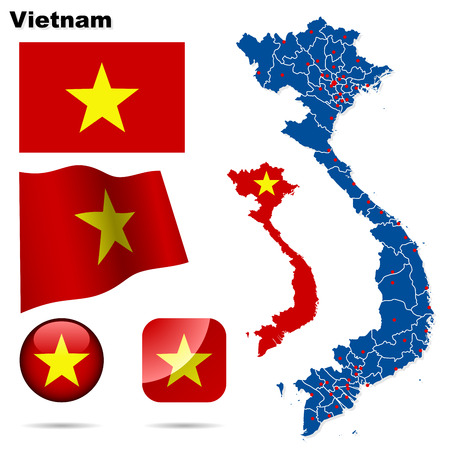 Vietnam set. Detailed country shape with region borders, flags and icons isolated on white background. Vector