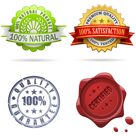 certificate seal: Quality labels and seals set isolated on white.