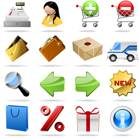 Collection of colorful shopping icons for internet shops.
