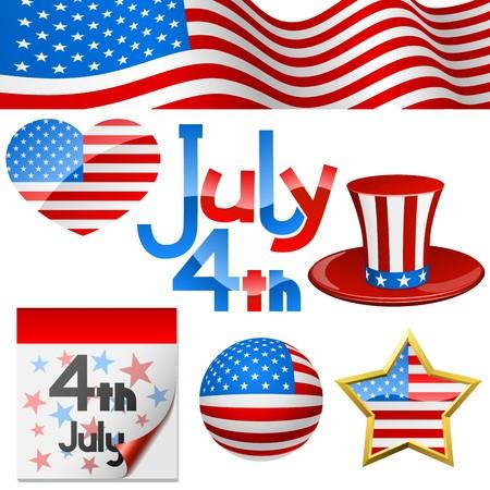calendario julio: 4 De julio d�a de la independencia de s�mbolos  Vectores