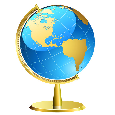 Globe with golden support  isolated on white background. Stock Vector - 7565749