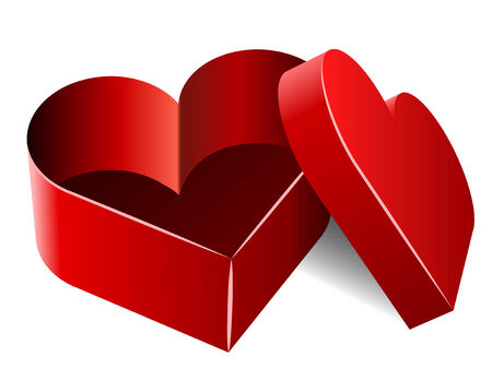 Opened empty heart shaped box isolated on white. Vector