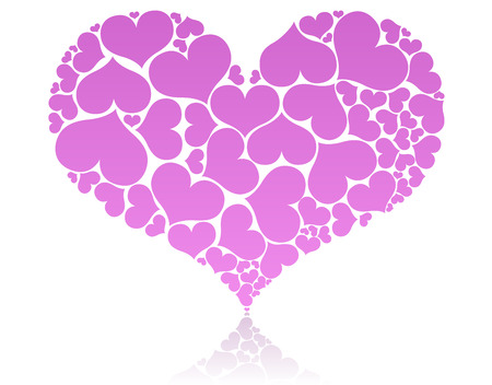 smaller: Big pink heart shape comprised by smaller ones.