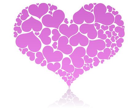 hintergrund liebe: Big pink Heart Shape von kleineren umfasste.