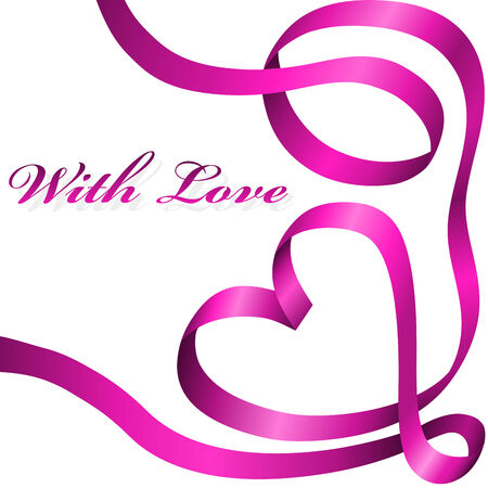 Pink decoration ribbon curled in heart shape isolated on white background. Vector