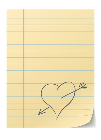 Blank lined page with hand drawn heart – love message. Vector