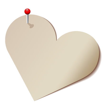 shiny hearts: Paper heart pinned to the wall.