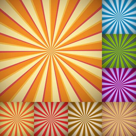 Sunburst fondos a todo en combinaciones de colores diferentes.