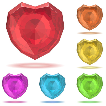 Ruby heart illustration isolated on white with color variants. Stock Vector - 8679786