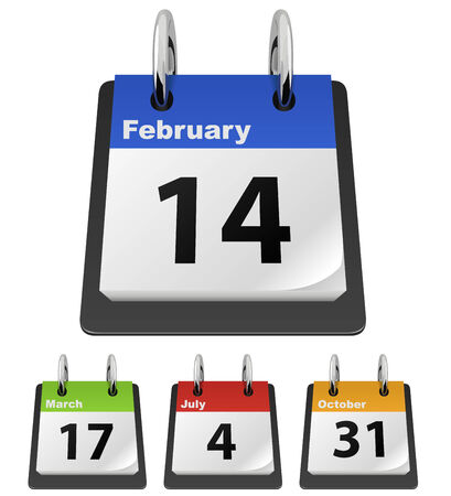 green dates: Calendar template with sample dates – Valentine's Day, Saint Patrick's Day, Independence Day, Halloween.