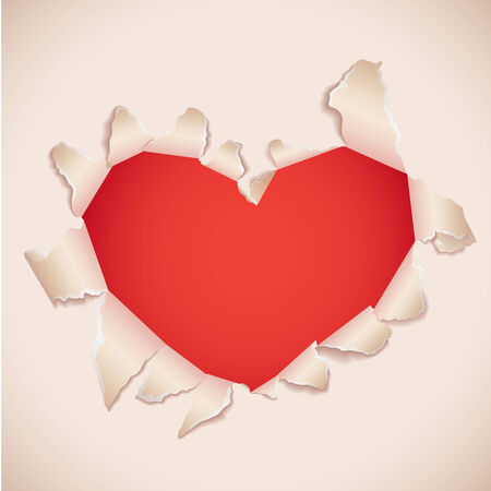 torn heart: Heart shaped torn paper with red copy space . Valentine's card.