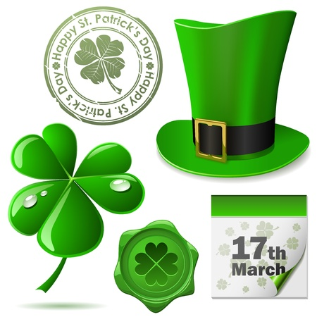 St. Patricks Day symbols set. Vector