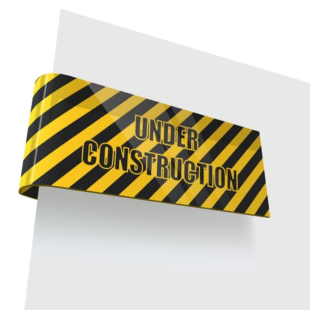 Under construction tag bent round white page.  Vector
