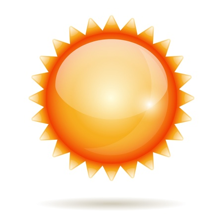smiling sun: Yellow sun glossy label isolated on white.