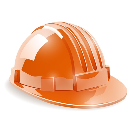 danger to life: Construction safety helmet isolated on white background Illustration