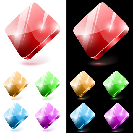 Diamond shaped 3D glass web buttons isolated on white and black background. Stock Vector - 14589085