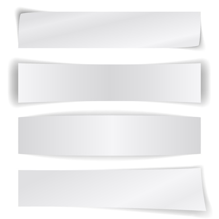 Set of blank paper banners isolated on white background. Vector