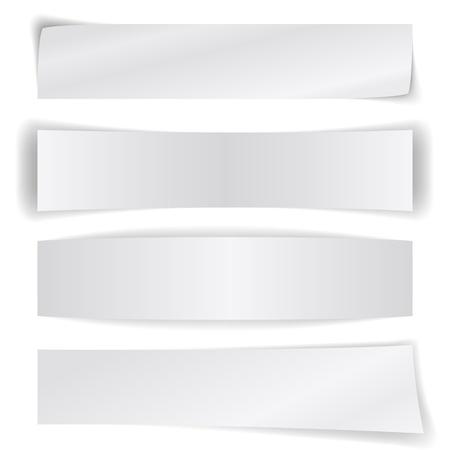 Set van blanco papier banners geïsoleerd op een witte achtergrond. Stock Illustratie