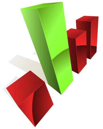 3D graph with green and white bars. Stock Vector - 14607754