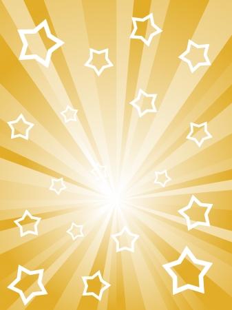 Abstracte zonnige stralen met witte sterren en strepen. Stock Illustratie