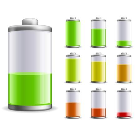 lading: Oplaadstatus van de batterij illustratie. Stock Illustratie