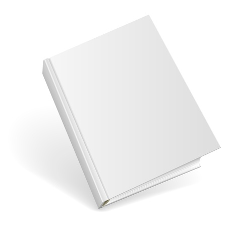 book cover: 3D blank hardcover book isolated on white background.  Illustration